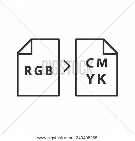 Color Models Conversion Linear Icon. Thin Line Illustration. Rgb Color Model Conversion To Cmyk. Con