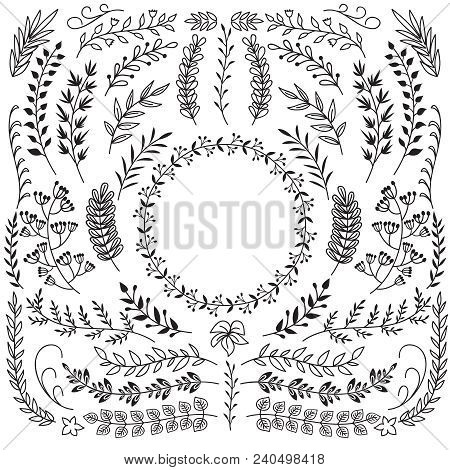 Hand Drawn Branches With Leaves. Decorative Floral Wreath Border Frames. Rustic Doodle Vector Set. I