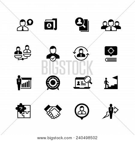 Human Resources And Person Management Icons. Job Interview, Employee Choice And Recruitment Vector S