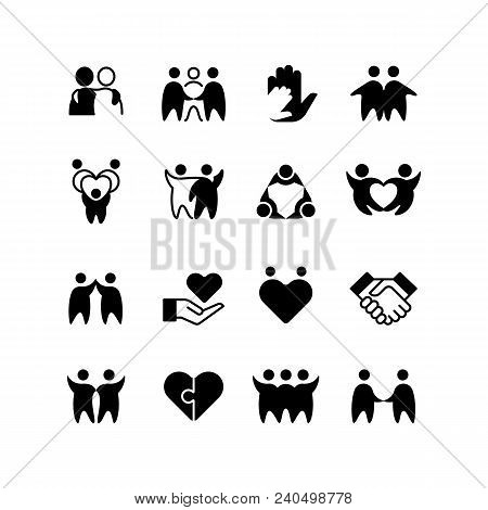 Friends, Buddies, Man Hug Line Icons. Friendship, Harmony And Friendly Group Outline Symbols Isolate