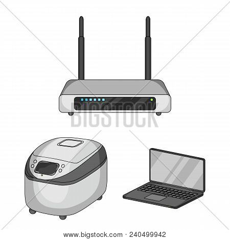 Smart Home Appliances Cartoon Icons In Set Collection For Design. Modern Household Appliances Vector