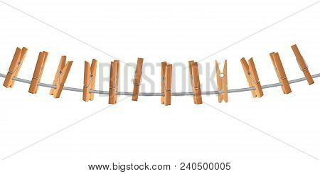 Wooden Clothespin On Clothes Line Holding Rope Vector Illustration Isolated On White Background. Clo