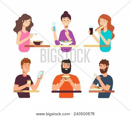 People, Hungry Persons Eating Different Foods. Cartoon Characters Eat Vector Set Isolated On White B