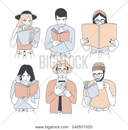 Collection Of Portraits Of Men And Women Reading Paper And Electronic Books Isolated On White Backgr