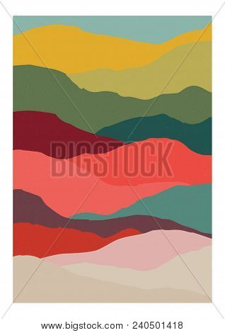 Decorative Vertical Background Or Card Template With Abstract Waves Of Warm Vivid Colors. Modern Bri