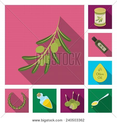 Olive, Food Flat Icons In Set Collection For Design. Olive Oil, Seasoning Vector Symbol Stock  Illus