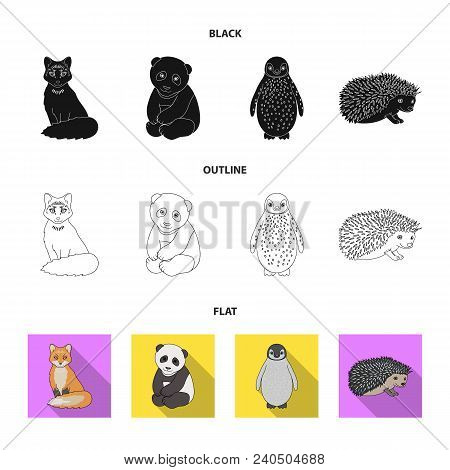 Fox, Panda, Hedgehog, Penguin And Other Animals.animals Set Collection Icons In Black, Flat, Outline