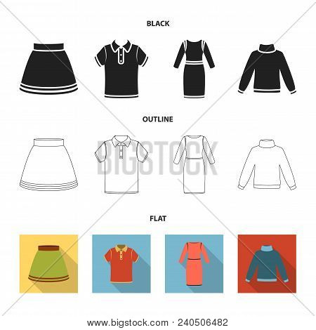 Skirt, T-shirt, Sweater, Dress With Long Sleeves.clothing Set Collection Icons In Black, Flat, Outli