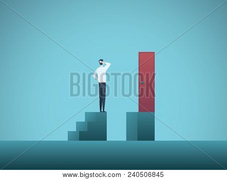 Business Challenge Vector Concept With Businessman Standing On Steps In Front Of Door. Symbol Of Ove