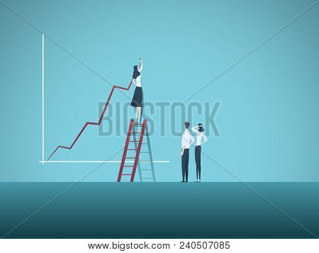 Business Woman Leader And Teamwork Vector Concept. Businesswoman Drawing Growth Chart, Symbol Of Tea