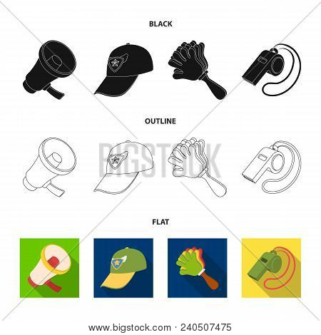 Megaphone, Whistle And Other Attributes Of The Fans.fans Set Collection Icons In Black, Flat, Outlin