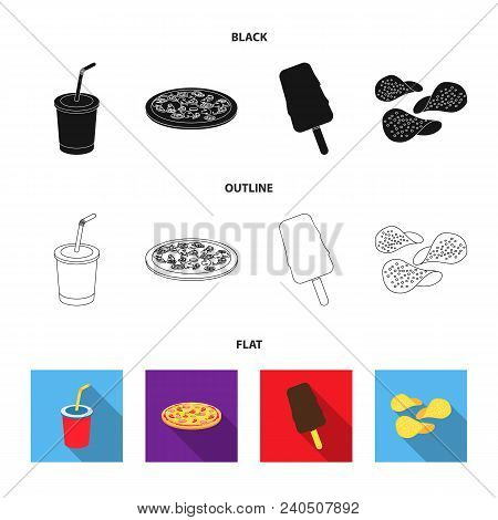 Cola, Pizza, Ice Cream, Chips.fast Food Set Collection Icons In Black, Flat, Outline Style Vector Sy