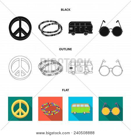 A Hippie Sign, Beads, A Bus, Round Glasses.hippy Set Collection Icons In Black, Flat, Outline Style