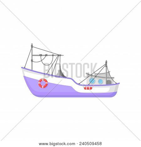 Commercial Fishing Boat With Trawling Gear And Lifebuoys. Cartoon Style Icon Of Purple Ship. Graphic
