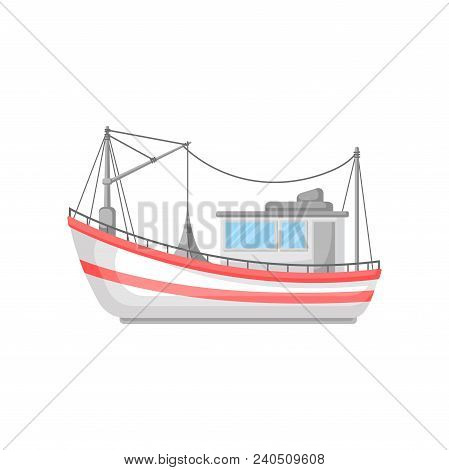 Colorful Illustration Of Fishing Boat With Trawl Net And Ropes. Commercial Marine Vessel. Cartoon Ic