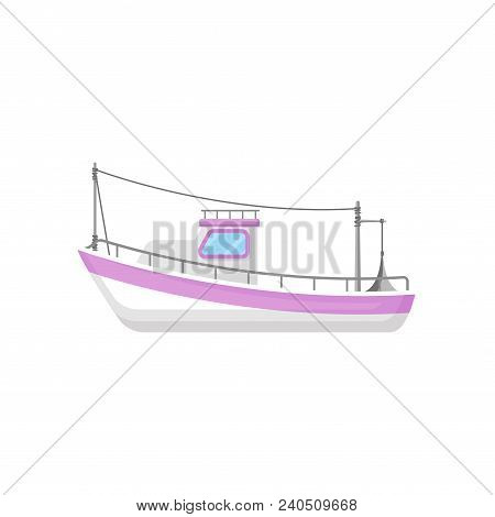 Icon Of Fishing Boat With Trawling Gear. Industrial Marine Vessel. Big White Trawler With Purple Str
