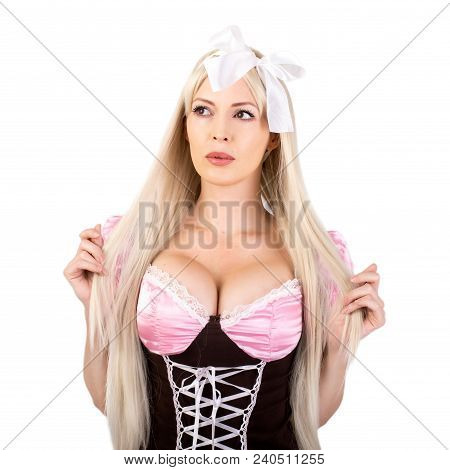 Young Beautiful Blond Oktoberfest Woman With Big Neckline On Female Breast