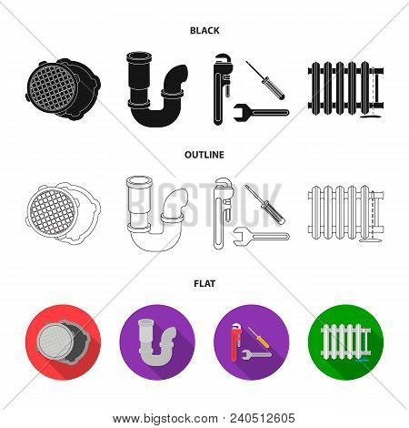Sewage Hatch, Tool, Radiator.plumbing Set Collection Icons In Black, Flat, Outline Style Vector Symb