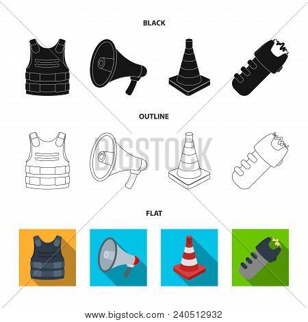 Bulletproof Vest, Megaphone, Cone Of Fencing, Electric Shock. Police Set Collection Icons In Black,