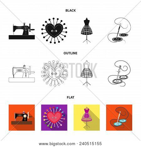 Needle And Thread, Sewing Machine, Pincushion, Dummy For Clothing. Sewing And Equipment Set Collecti
