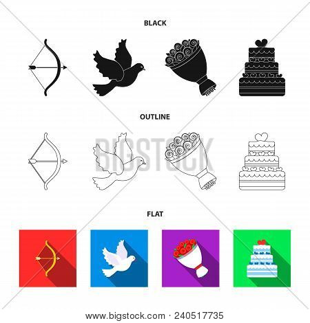 Arrow Cupid, Dove, Bouquet Of Flowers, Wedding Cake. Wedding Set Collection Icons In Black, Flat, Ou