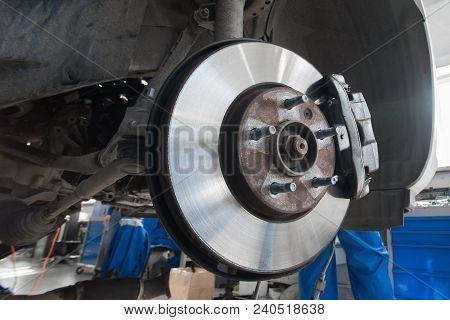 Disc Brakes. Assembly On A Modern Automobile - Brake Work In Progress.