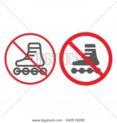 No Roller Skates Line And Glyph Icon, Prohibition And Forbidden, No Skating Sign Vector Graphics, A