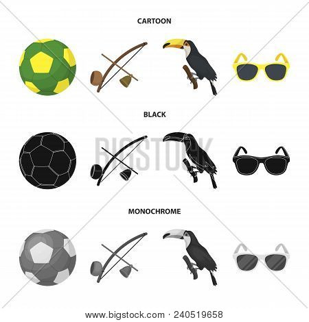 Brazil, Country, Ball, Football . Brazil Country Set Collection Icons In Cartoon, Black, Monochrome