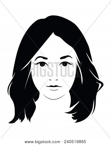 The head of a beautiful girl. Face of a young woman with a female hairdo. poster