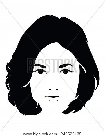 The Head Of A Beautiful Girl. Face Of A Young Woman With A Female Hairdo.