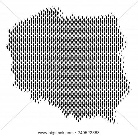 Demography Poland Map People. Population Vector Cartography Pattern Of Poland Map Composed Of Men It