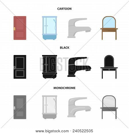 Door, Shower Cubicle, Mirror With Drawers, Faucet.furnitureset Collection Icons In Cartoon, Black, M