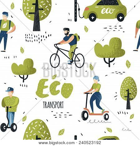 Seamless Pattern With People Riding Eco Transportation. Green Urban City Transport Background. Ecolo