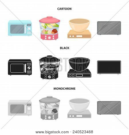 Steamer, Microwave Oven, Scales, Lcd Tv.household Set Collection Icons In Cartoon, Black, Monochrome