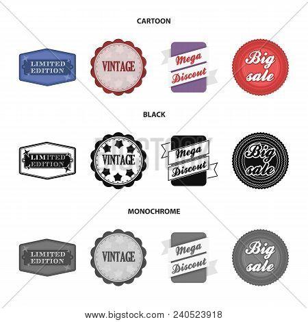 Limited Edition, Vintage, Mega Discont, Dig Sale.label, Set Collection Icons In Cartoon, Black, Mono
