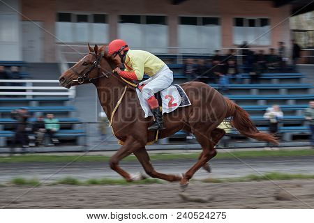 Leader. Horse Racing Is A Test Of Riding Horses For Speed. Abakan, Republic Of Khakassia. May 14, 20