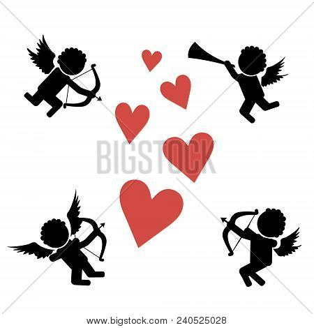 Stick Figure Cupids. Flying On The Wings Of Love Amur, Cupid With Bow, Arrows And Pipe. Stick Figure