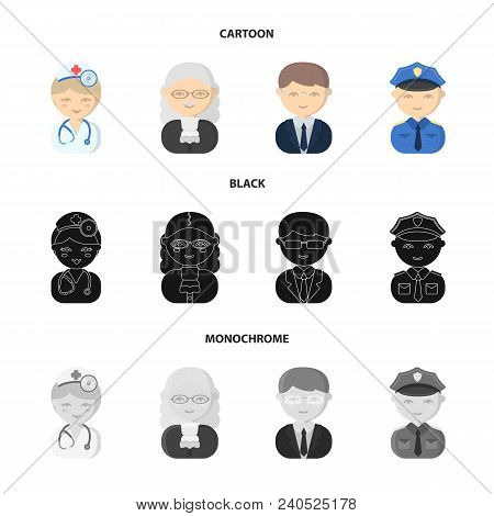 Doctor, Judge, Business, Police.profession Set Collection Icons In Cartoon, Black, Monochrome Style
