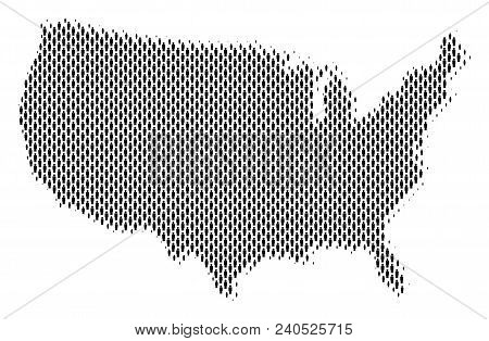 Demography Usa Map People. Population Vector Cartography Pattern Of Usa Map Organized Of Person Elem