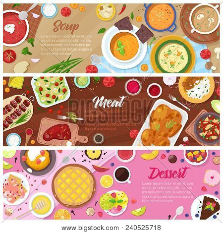 Food Vector Cooked Meal Soup Meat And Sweet Dessert Cake With Fruits In Restaurant Menu Illustration
