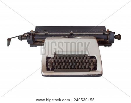 099ae88417b Old Vintage Typewriter Isolated On White Background. (clipping Path)
