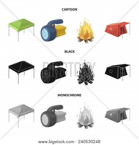 Awning, Fire And Other Tourist Equipment.tent Set Collection Icons In Cartoon, Black, Monochrome Sty
