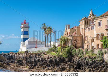 Santa Marta Lighthouse In Cascais. Cascais Lisbon Portugal