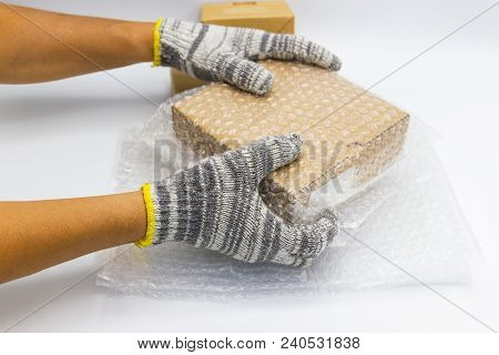 Man Bubble Wrap, Covering Protection For Moving Or Transporting Materials, Concept Protection Produc