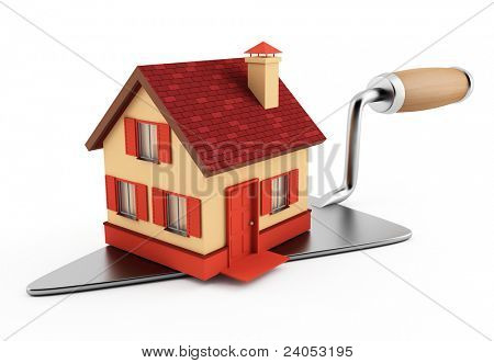 New brick house on construction trowel