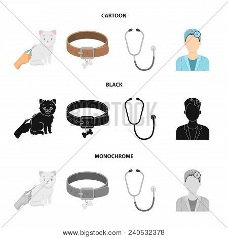 Collar, Bone, Cat, Haircut .vet Clinic Set Collection Icons In Cartoon, Black, Monochrome Style Vect