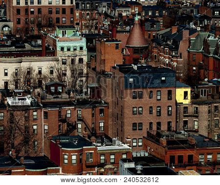 View Of Old Brick And Stone Buildings In Boston Neighborhood