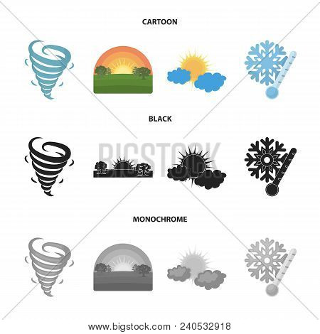 Tornado, Sunrise, Cloudiness, Snow And Frost. The Weather Set Collection Icons In Cartoon, Black, Mo