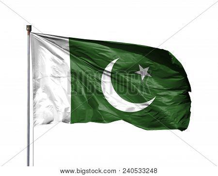 National Flag Of Pakistan On A Flagpole, Isolated On White Background.
