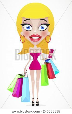 Happy Girl With Shopping Bags In Shop. Shopper. Sales. Funny Cartoon Character. Vector Illustration.